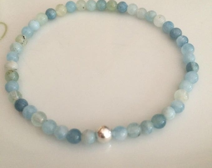 AQUAMARINE STRETCH Bracelet Sterling Silver 4mm Small blue natural GEMSTONE bead Bracelet tiny beaded Bracelet March Birthstone jewelry gift