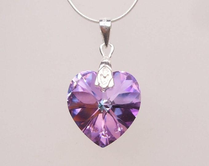 Light Vitrail Swarovski Crystal Heart Necklace, Sterling Silver, purple Mothers Day gift