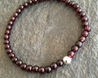 Genuine Garnet stretch Bracelet Sterling Silver or 14K Gold Fill red Beaded gemstone Bracelet - Root Chakra -yoga - January Birthstone Gift