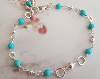 TURQUOISE ANKLET Sterling Silver wire wrapped tiny blue Turquoise gemstone bead anklet honeymoon jewelry Boho jewellery gift throat Chakra