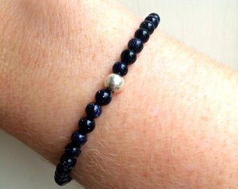 BLUE GOLDSTONE stretch Bracelet Sterling Silver or Gold Fill - throat Chakra - healing jewellery gift