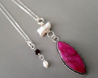 """Sterling Silver 28"""" long RUBY pendant necklace Raw red Ruby gemstone & Baroque Biwa Freshwater Pearl necklace July birthstone jewellery gift"""