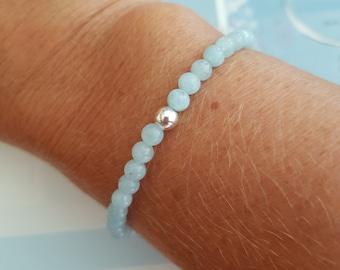 AQUAMARINE STRETCH Bracelet Sterling Silver or Gold Fill - March Birthstone jewellery - Chakra Yoga gift