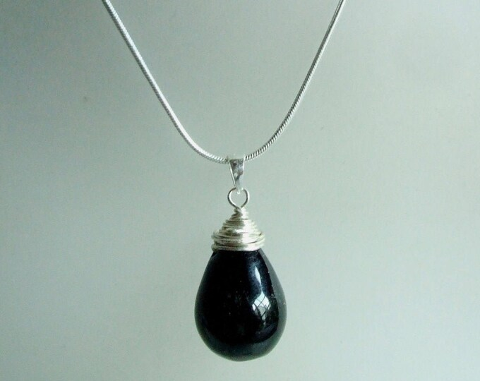 Sterling Silver Black Onyx necklace wire wrapped Black Onyx teardrop pendant necklace large black gemstone drop necklace Black Onyx jewelry