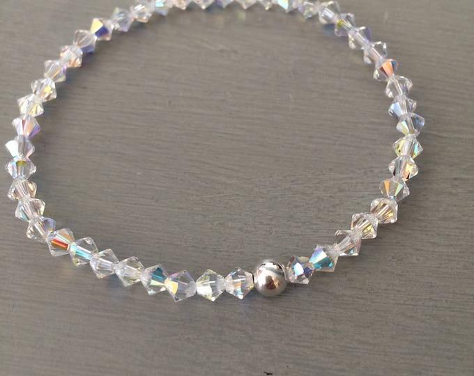 AB Swarovski crystal stretch bracelet with Sterling Silver or 14K Gold Fill bead