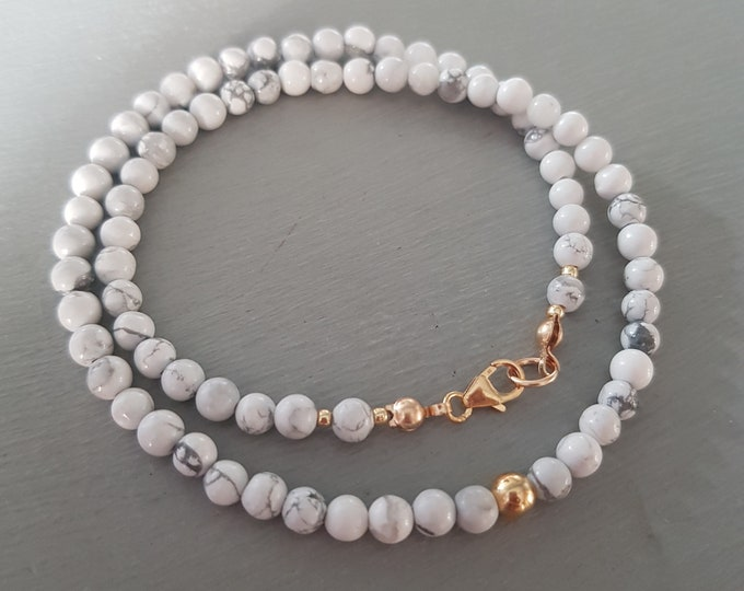 4c9d542cb41e07 White Howlite choker necklace Gold Fill Sterling Silver 4mm tiny white  gemstone bead necklace beaded White