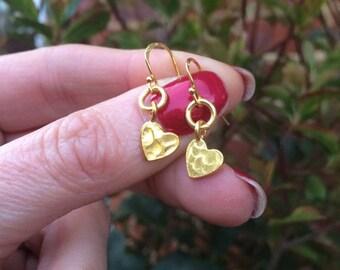 18K Gold hammered heart earrings tiny Gold Fill heart earrings simple Gold earrings dainty gold drop earrings jewelry gift for girl mum