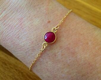 18K Gold Fill Ruby bracelet July birthstone jewellery gift tiny red gemstone bracelet minimalist dainty raw Ruby Jewelry Chakra Yoga gift