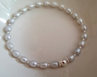 Grey Freshwater Pearl STRETCH Bracelet Sterling Silver
