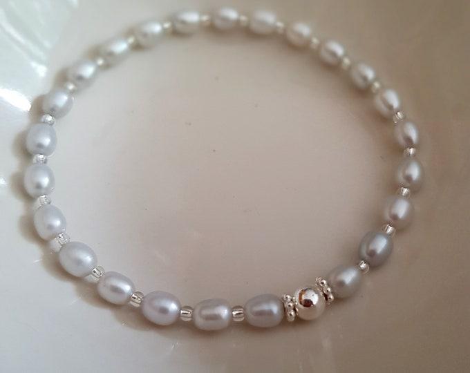 Grey Freshwater Pearl STRETCH Bracelet Sterling Silver