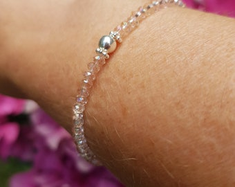 Tiny peach AB crystal stretch bracelet Sterling Silver Gold Fill 3mm small pink beaded bracelet skinny seed bead stacking sparkly jewellery