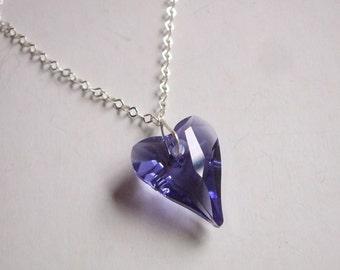 Purple Swarovski Crystal Heart Necklace Sterling Silver