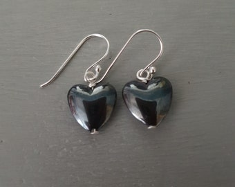 Black Hematite heart earrings Sterling Silver small heart earring simple black gemstone heart drop earring Goth Gothic gift Hematite jewelry