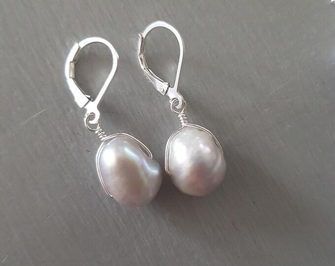 Grey Baroque Freshwater pearl earrings Sterling Silver large gray pearl drop earrings real pearl earrings leverback hook threader gift mum