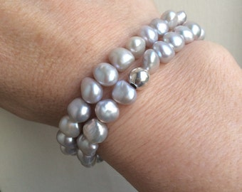 Grey Baroque Freshwater Pearl bracelet double wrap stretch bracelet Sterling Silver - real Pearl jewellery gift mum