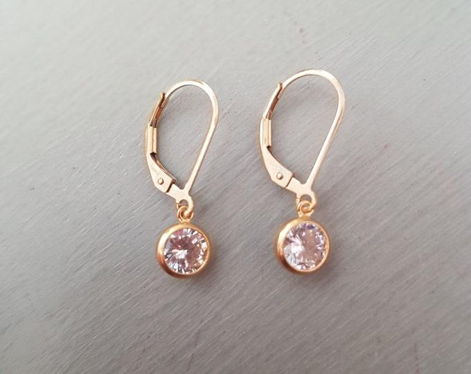 14K Gold Fill Tiny CZ Diamond earrings leverback / Rose Gold Fill small clear CZ drop earrings April Birthstone jewellery minimalist jewelry