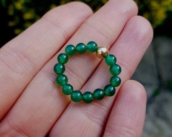 GREEN ONYX STRETCH ring with Sterling Silver or 14K Gold Fill accent bead - Chakra - Yoga gift