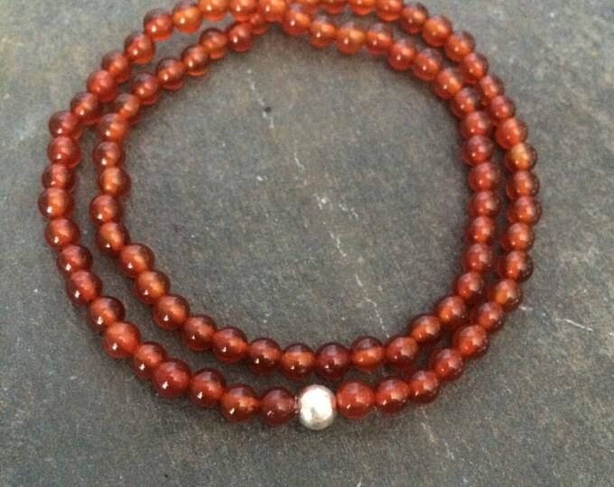 Carnelian STRETCH Bracelet Sterling Silver 4mm tiny ORANGE red gemstone bead Bracelet wrap bracelet July Birthstone healing Chakra jewelry
