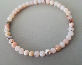 Pink Opal stretch Bracelet October Birthstone Jewellery gift Sterling Silver or Gold 4mm tiny pink Peruvian Opal gemstone bead Bracelet gift