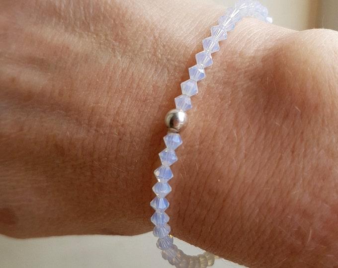 White OPAL Swarovski crystal stretch bracelet Sterling Silver Gold tiny crystal bead bracelet Swarovski jewellery boho stacking jewelry gift