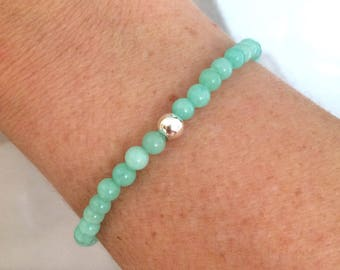 Aqua green Jade  Bracelet - stretch  with Sterling Silver or Gold Fill Bead- 4th heart Chakra bracelet - yoga lover gift