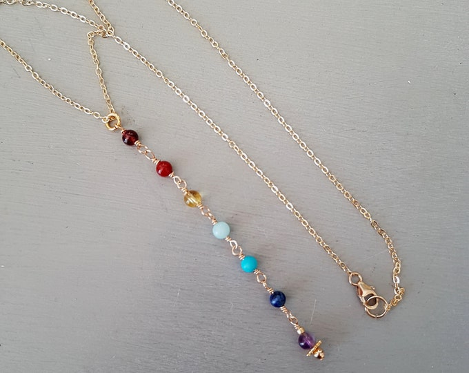7 CHAKRA necklace lariat in 18K Gold Fill or Sterling Silver - Chakra jewelry gift Boho jewellery