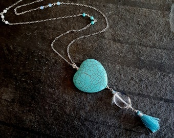 Long Sterling Silver Turquoise necklace with Clear Rock Crystal Quartz and blue tassle pendant- December Birthstone jewelry gift