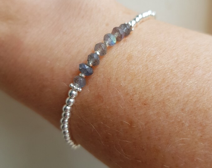 LABRADORITE stretch Bracelet Sterling Silver 4mm beaded grey Labradorite gemstone stretch Bracelet yoga Reiki CHAKRA healing jewellery gift