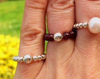 Sterling Silver GARNET stretch ring - stacking Chakra Healing jewelry January Birthstone jewellery gift