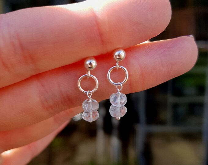 Tiny Aquamarine earrings Sterling Silver stud small blue gemstone drop earring, genuine Aquamarine jewellery March Birthstone jewellery gift