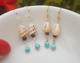 Tiny Turquoise shell earrings Sterling Silver or Gold Fill small Turquoise gemstone drop earrings  real shell jewellery boho bride honeymoon