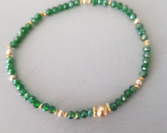 Tiny Emerald green crystal stretch bracelet Gold Fill or Sterling Silver 3mm small green beaded bracelet  stacking bracelet jewellery gift