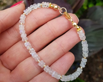 Gold Fill Moonstone bracelet or Sterling Silver 4mm white gemstone bead bracelet June Birthstone jewellery Real Moonstone jewelry gift