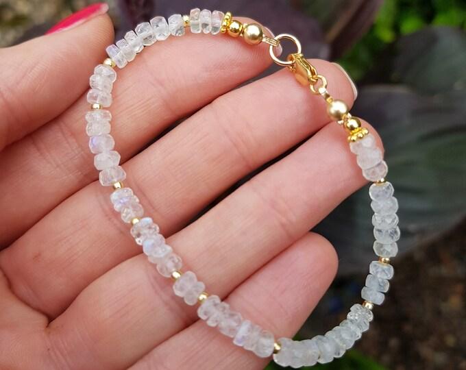 Gold Fill Moonstone bracelet or Sterling Silver 4mm white gemstone bead bracelet June Birthstone jewellery Real Moonstone jewelry gift
