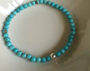 Turquoise STRETCH Bracelet Sterling Silver Small blue GEMSTONE bead Bracelet 4mm tiny beaded Bracelet December Birthstone jewellery gift