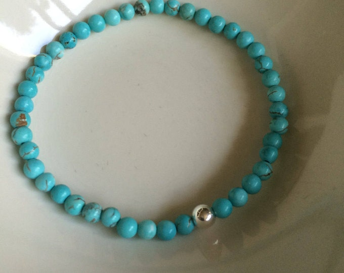 Turquoise STRETCH Bracelet Sterling Silver Small blue GEMSTONE bead Bracelet 4mm tiny beaded Bracelet December Birthstone jewellery gift