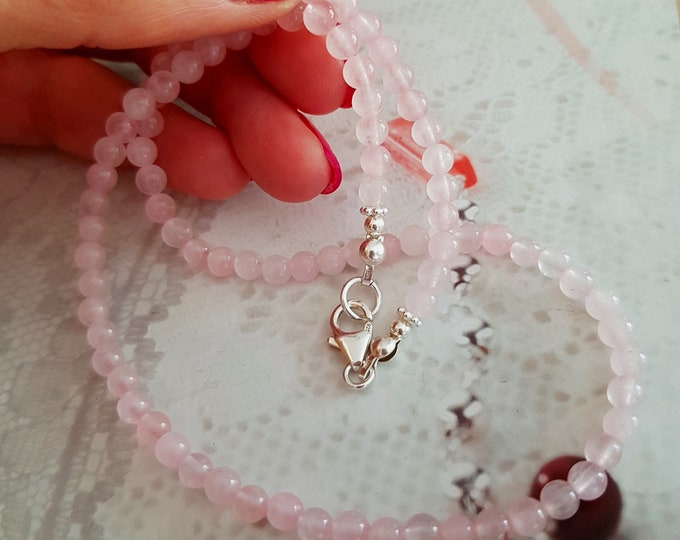 Tiny Rose Quartz necklace choker Sterling Silver or 14K Gold Fill - January Birthstone jewelry - Heart Chakra - Healing Yoga lover gift