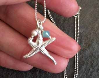 Sterling Silver star fish necklace pendant with personalised Swarovski crystal Birthstone and Freshwater pearl