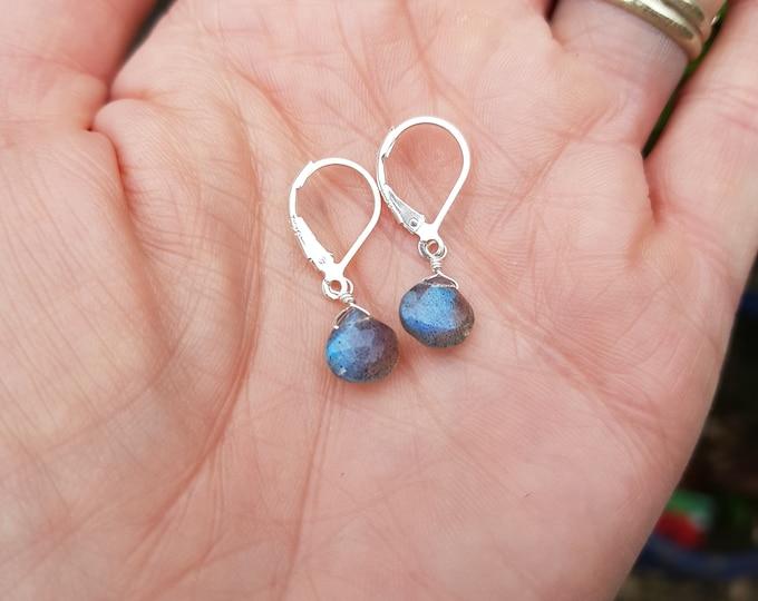Tiny LABRADORITE earrings Sterling Silver wire wrapped AA heart briolette gemstone earrings blue grey teardrop earrings Labradorite jewelry