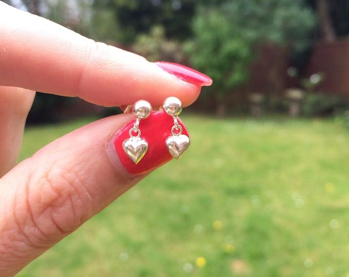 Tiny Sterling Silver heart earrings on studs, Small Silver heart stud earring tiny drop heart earrings girlfriend gift love girl child gift