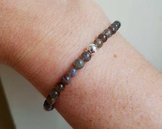 Tiny LABRADORITE stretch Bracelet Sterling Silver or 14K Gold Fill - Chakra - Healing