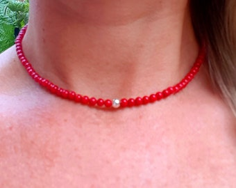 Red Coral choker necklace Sterling Silver or Gold Fill - Base Chakra jewelry -healing - Yoga lover gift