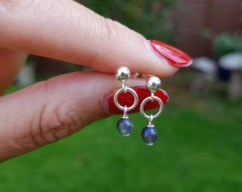 Tiny LABRADORITE earrings Sterling Silver stud -Yoga -Chakra- healng jewellery gift