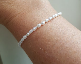 Tiny Freshwater seed Pearl Bracelet Sterling Silver small white real pearl Bracelet simple rice pearl bracelet Baroque pearl jewelry gift