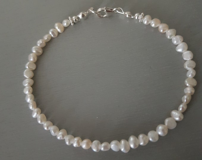 Tiny Freshwater Pearl Bracelet Sterling Silver white Baroque pearl Bracelet simple pearl bracelet stacking real Baroque pearl jewellery gift