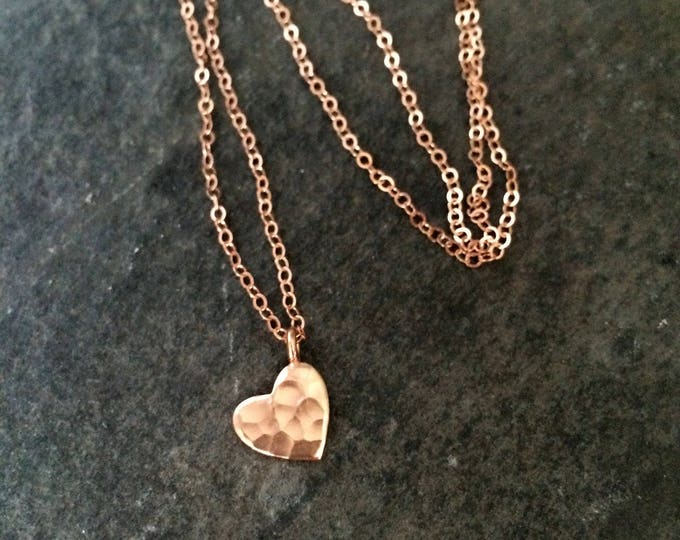 24K Rose Gold heart necklace, small hammered heart Gold filled necklace simple Gold heart choker dainty gold pendant necklace jewelry