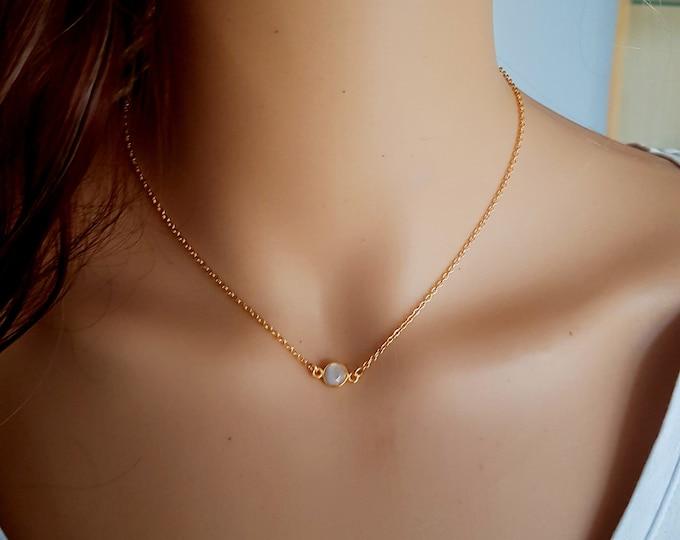 18K Gold fill tiny Moonstone necklace choker - June Birthstone jewellery minimalist Jewelry gift