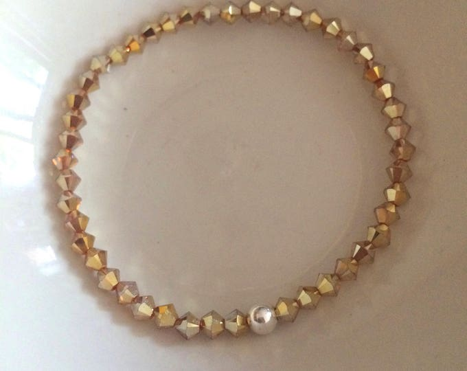 Yellow Gold Swarovski crystal stretch bracelet with Sterling Silver or Gold fill bead