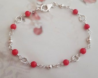 Tiny Red Coral Bracelet Sterling Silver 4mm red gemstone Bead Bracelet beaded Rosary wire wrapped jewellery Root Chakra crystal healing gift