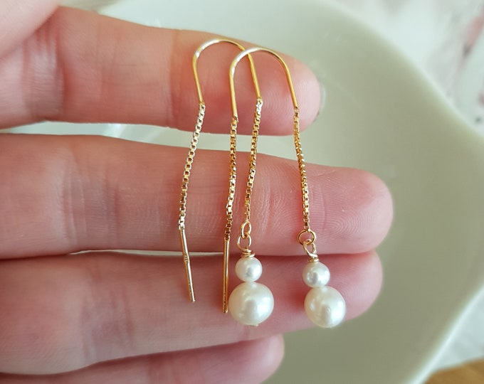 24K Gold Fill threader Freshwater pearl drop earrings - June Birthstone jewellery gift for her mum sister girlfriend best friend